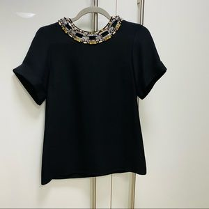Never Worn GUCCI silk bejeweled blouse size 40 (4)